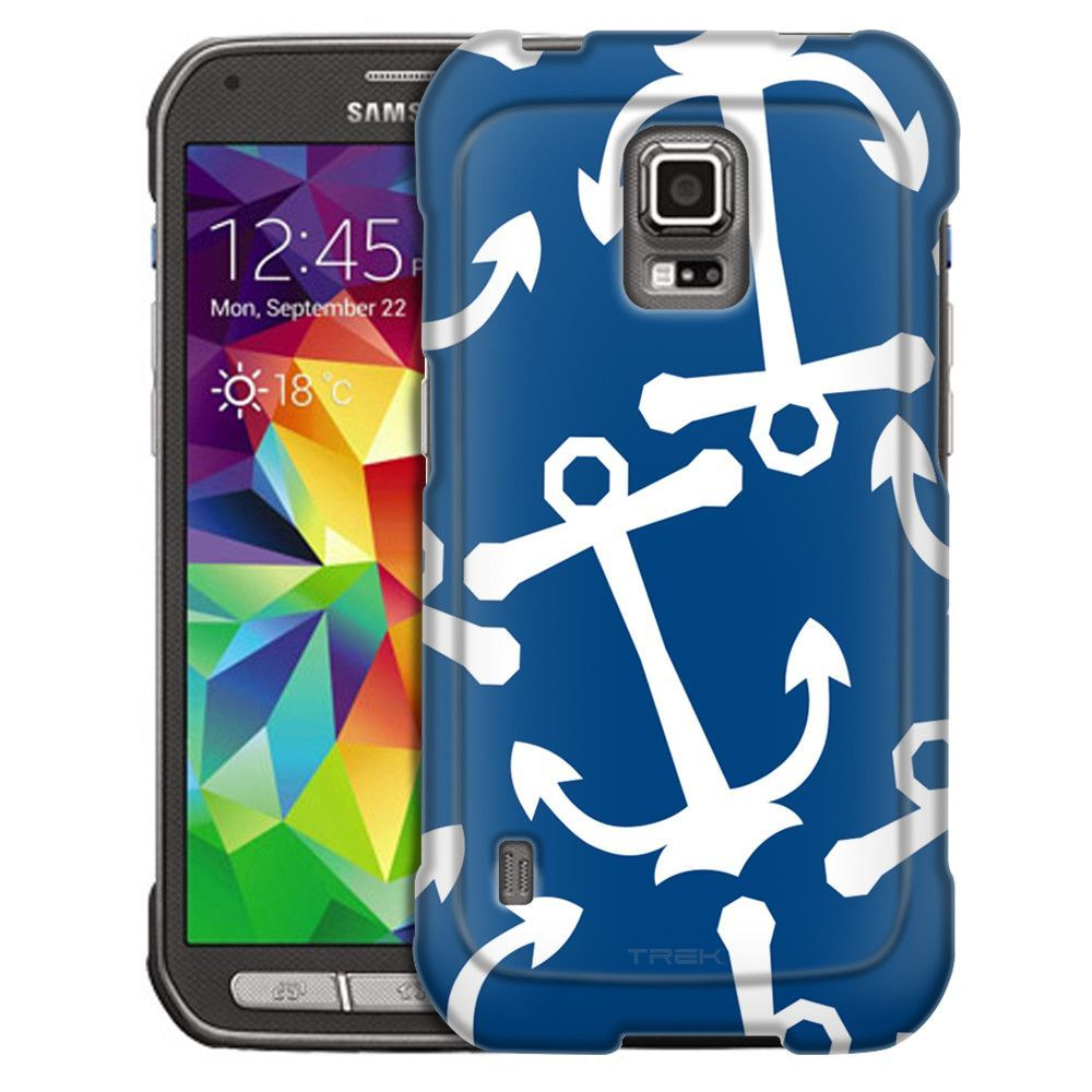 Samsung Galaxy S5 Active Anchors White on Blue Slim Case