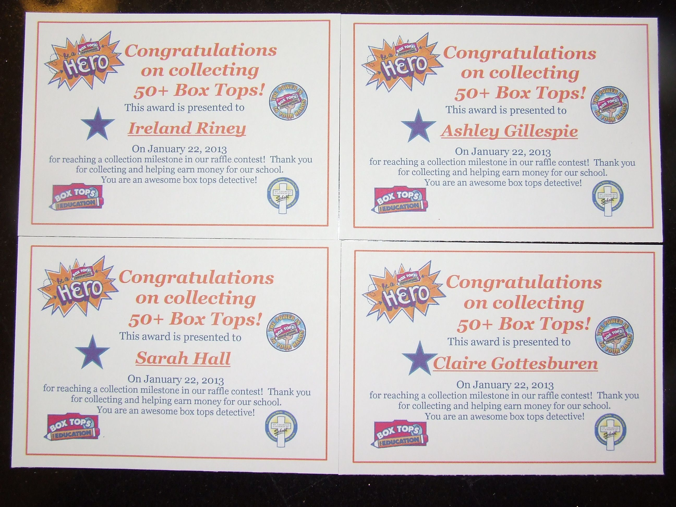 Certificates to celebrate students who brought in 50 box tops certificates to celebrate students who brought in box tops thank you janine robinson mcqueen for the certificate ideatemplate yelopaper Image collections