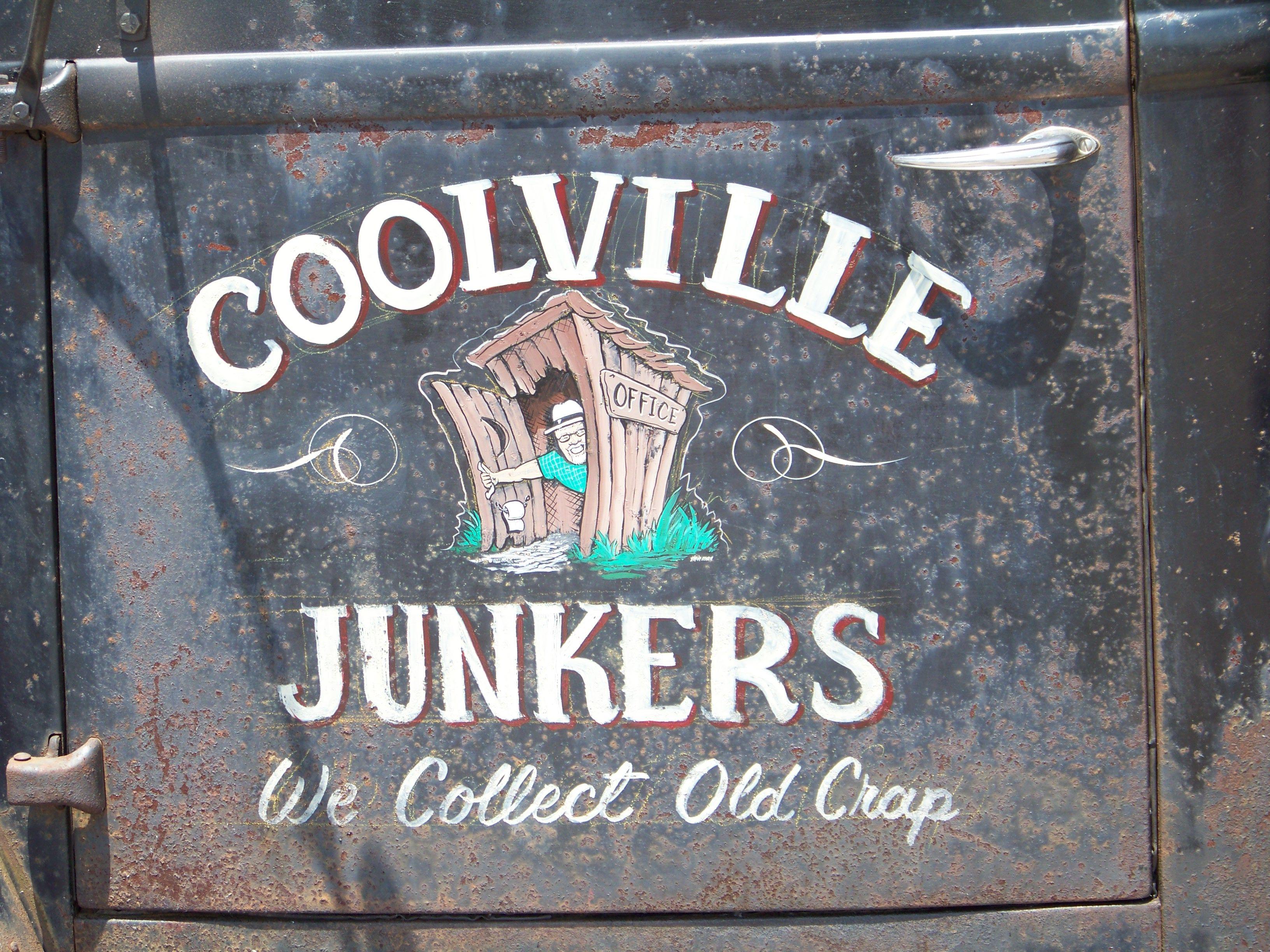 Coolville Junkers Door Art Truck Lettering