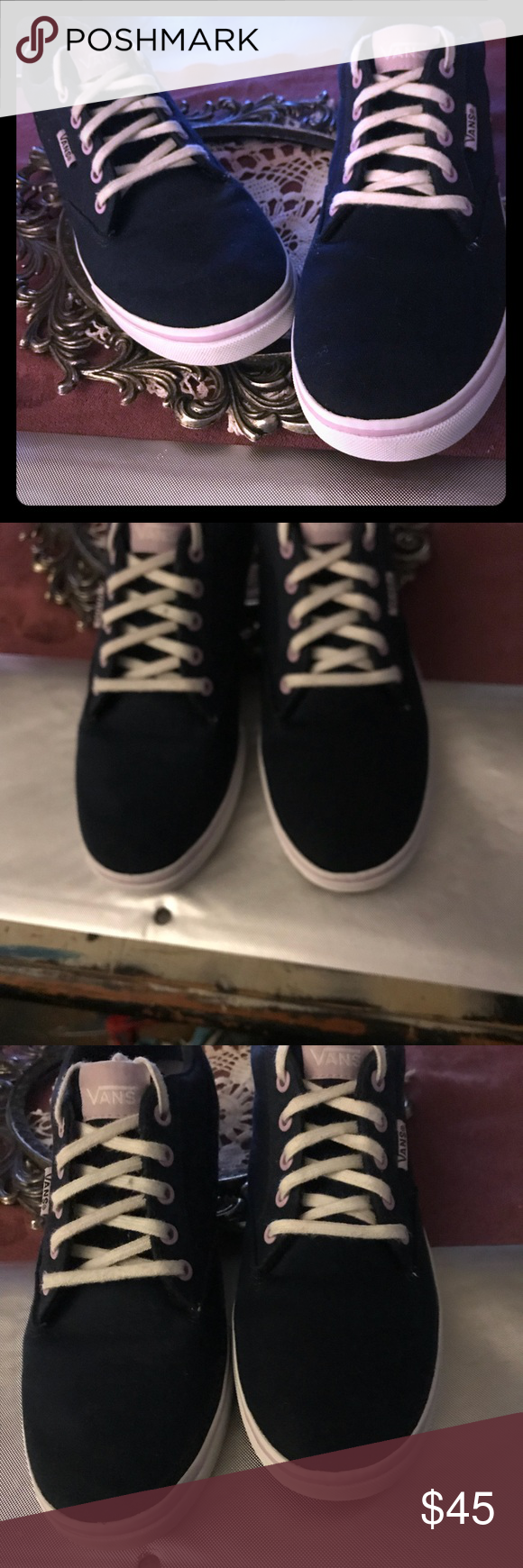 2cedcefebf6421 Vans off the wall new with out tags women Vans pink label tongue and side  tag on a canvas dark blueish greyish lilic color never worn excellent  condition ...