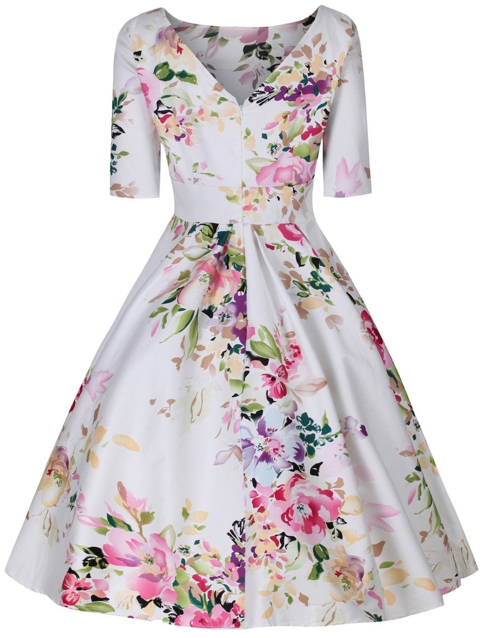 9be062b922fc Liana White and Pink Florals Flare Dress   Modern Val   Dresses ...