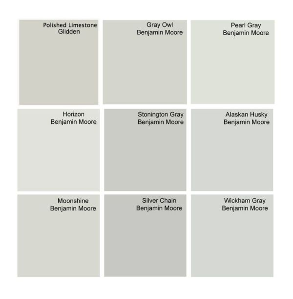 Best Gray Paint Colors Glidden Polished Limestone Benjamin Moore Owl Pearl Horizon Stonington