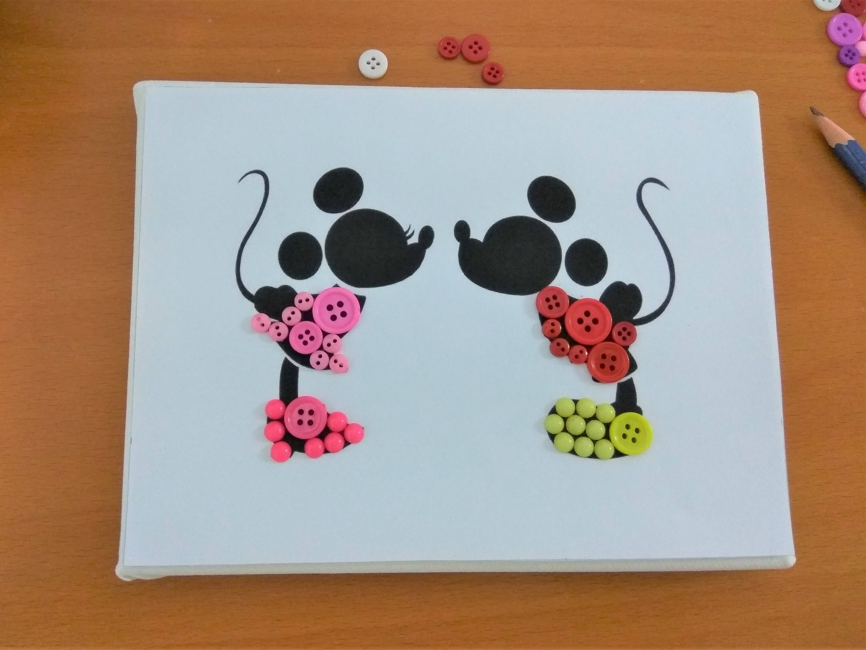 Mickey and minnie diy button art kit button canvas craft kit art diy button art kit mickey and minnie button canvas craft kit art puzzle solutioingenieria Image collections