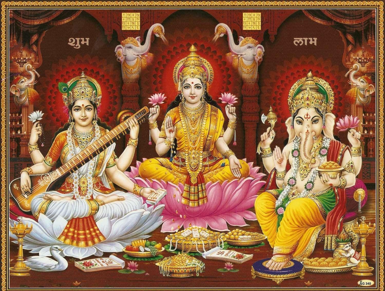 Lord Ganesha Mata Laxmi Lakshmi Saraswati Maa Poster ...