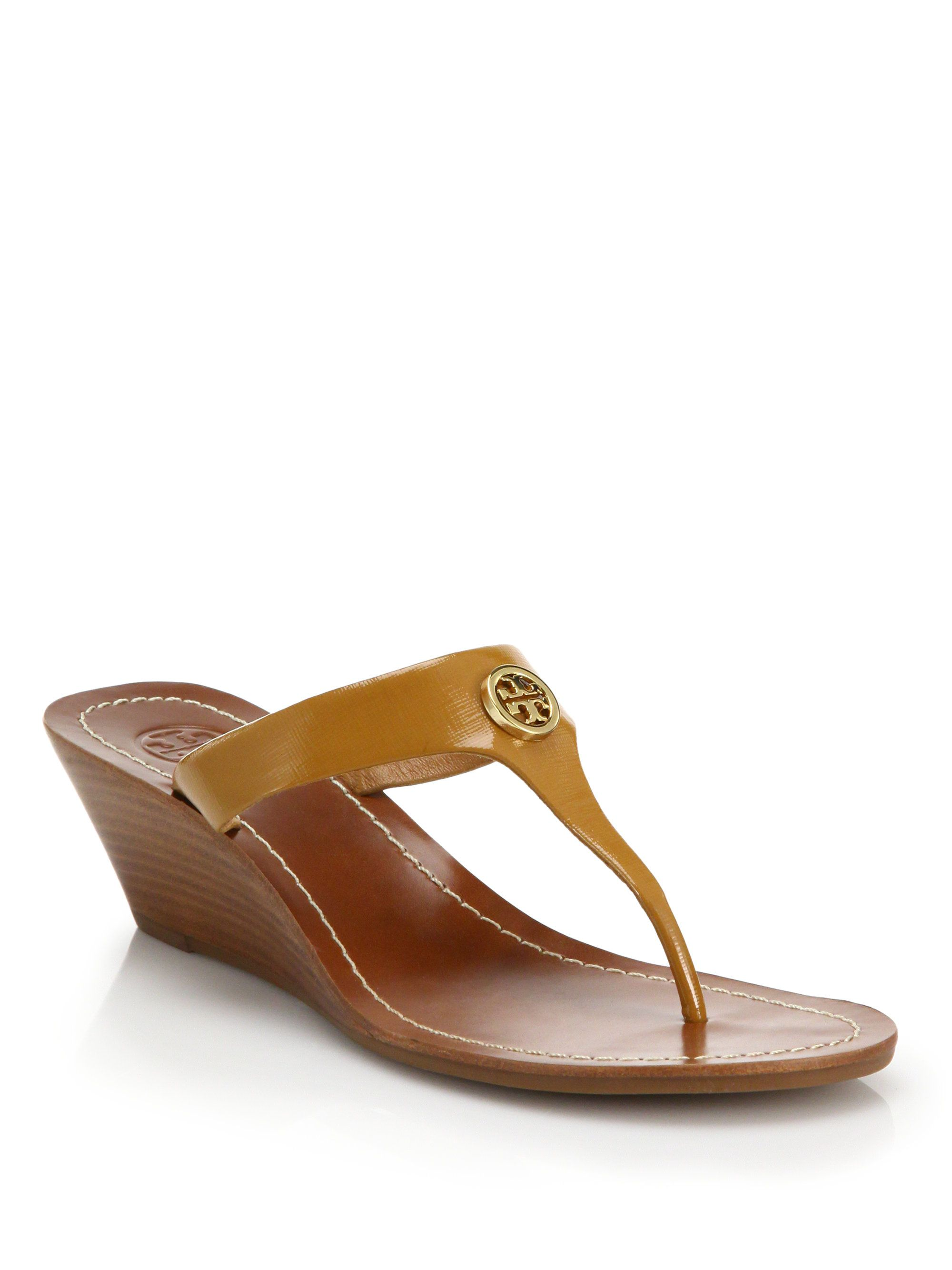 89932d46597 Tory Burch Cameron Logo Leather Thong Wedge Sandals in Brown (tan)