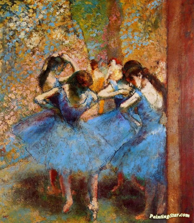 Dancers in Blue Artwork by Edgar Degas Hand-painted and Art Prints on canvas for sale,you can custom the size and frame
