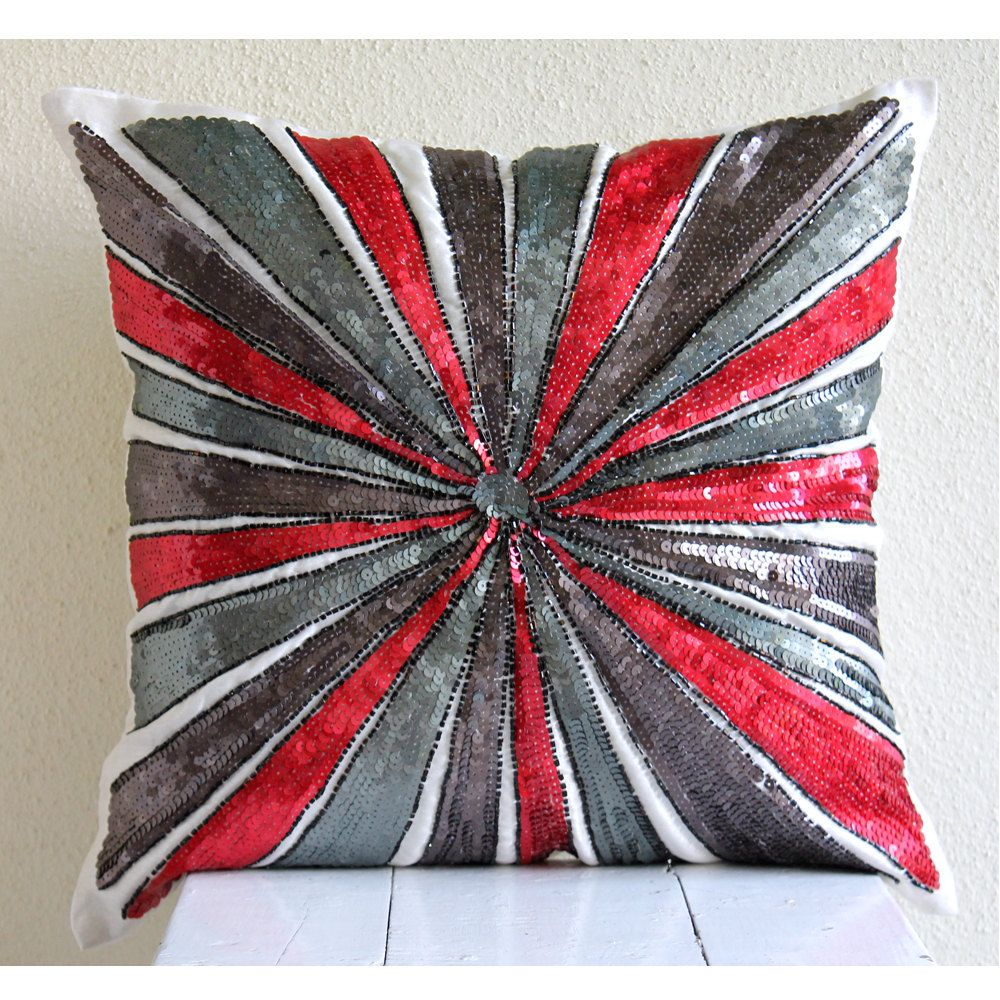 Red And Grey Decorative Pillows