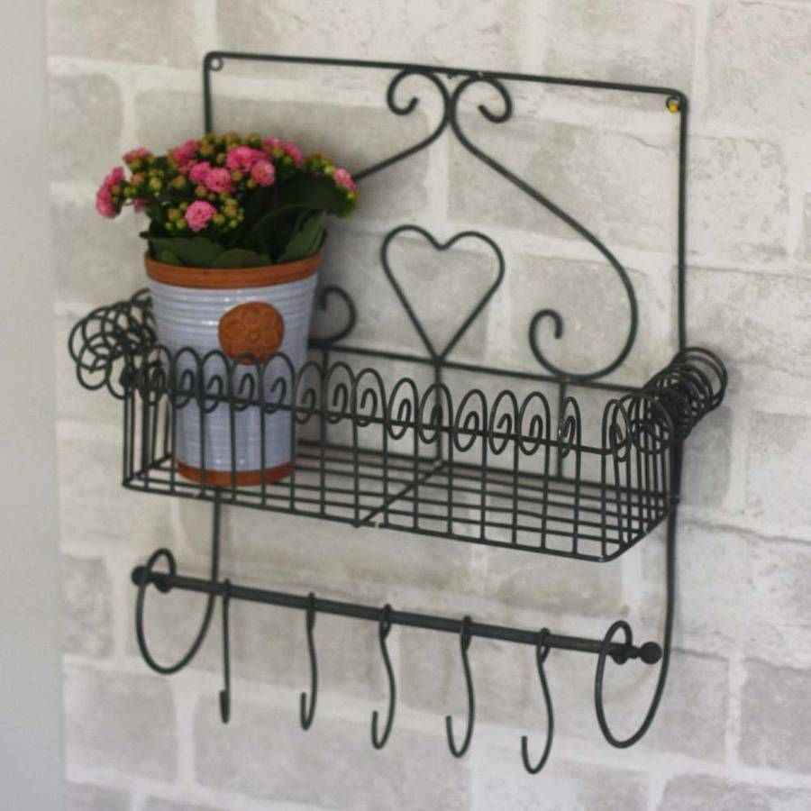 Decorative Wirework Shelf With Hanging Hooks from notonthehighstreet ...