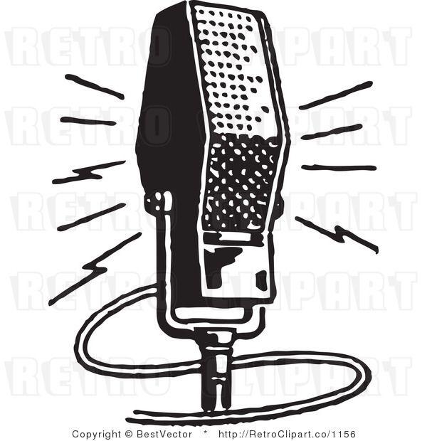 Retro Microphone Artdeco Illustration Retro Illustration Digital Clip Art Vintage Radio
