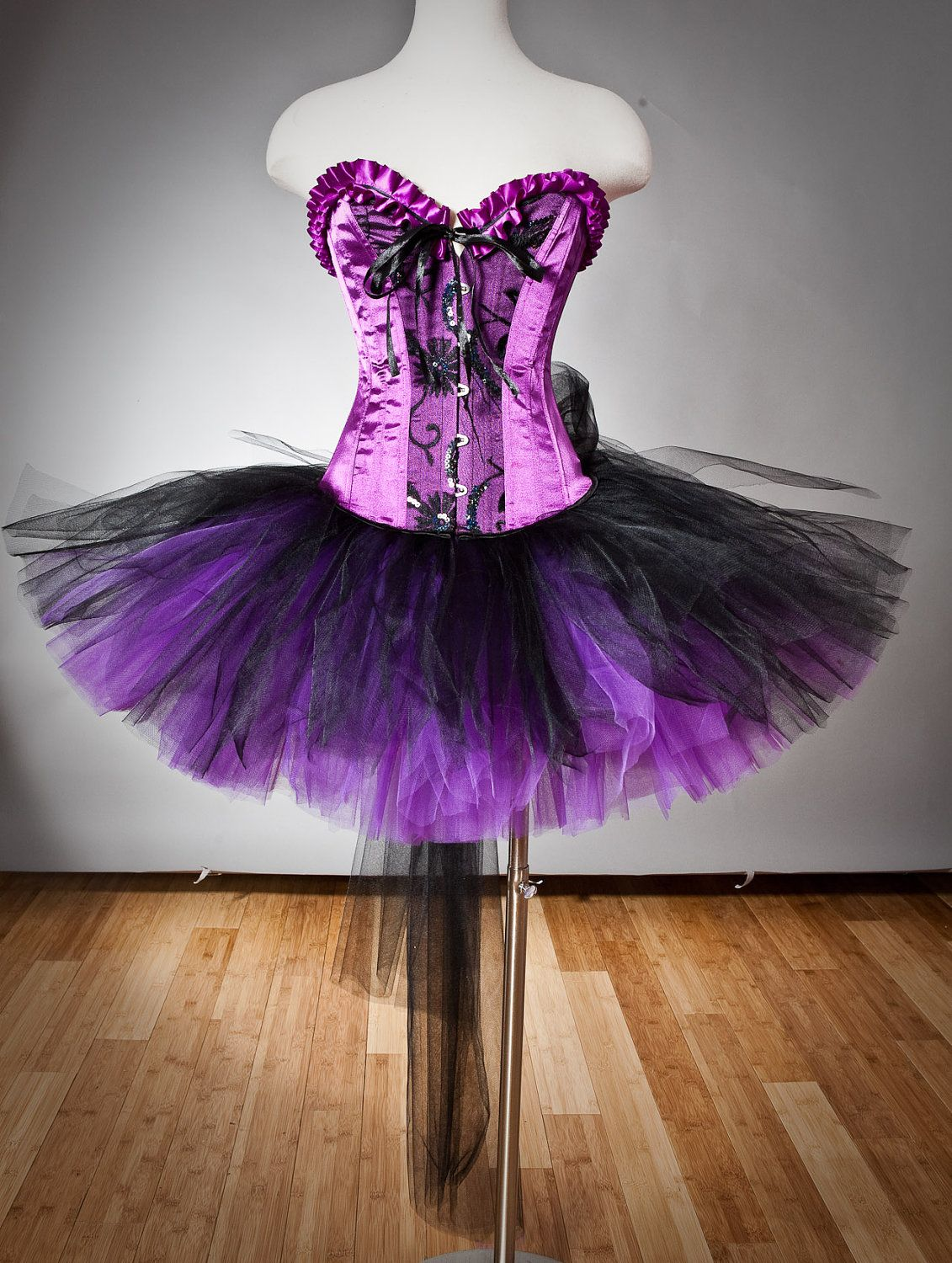 Clearance size small black and purple lace and sequin burlesque