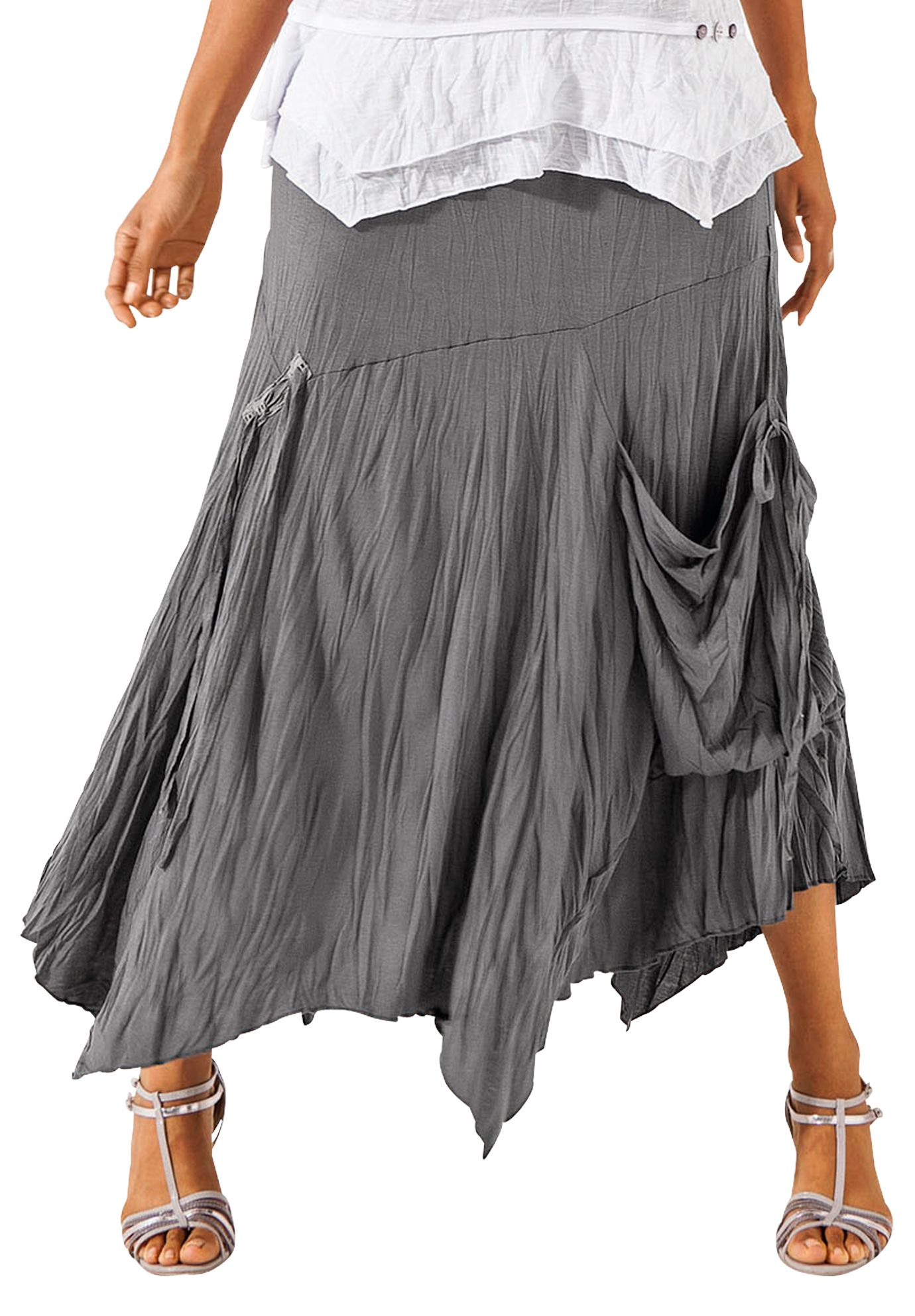 Roamans Taillissime Plus Size Grey Asymmetric Hem Dress: Hankie Hem Skirt By Taillissime®