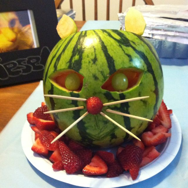 Watermelon carved into cat fruit bowl front lil miss