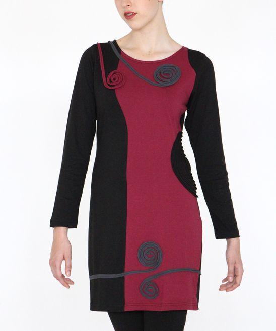 Paprika & Black Organic Cotton Spiral Long-Sleeve Dress