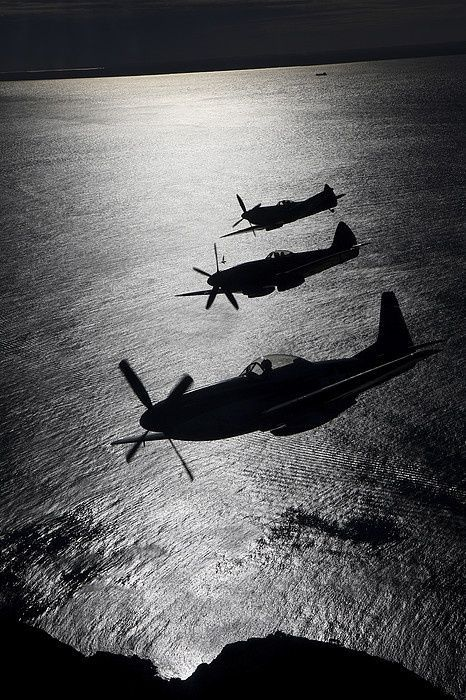 P- 51Mustang, in the middle a Spitfire Mk XIV, in the back a Spitfire Mk XVI.