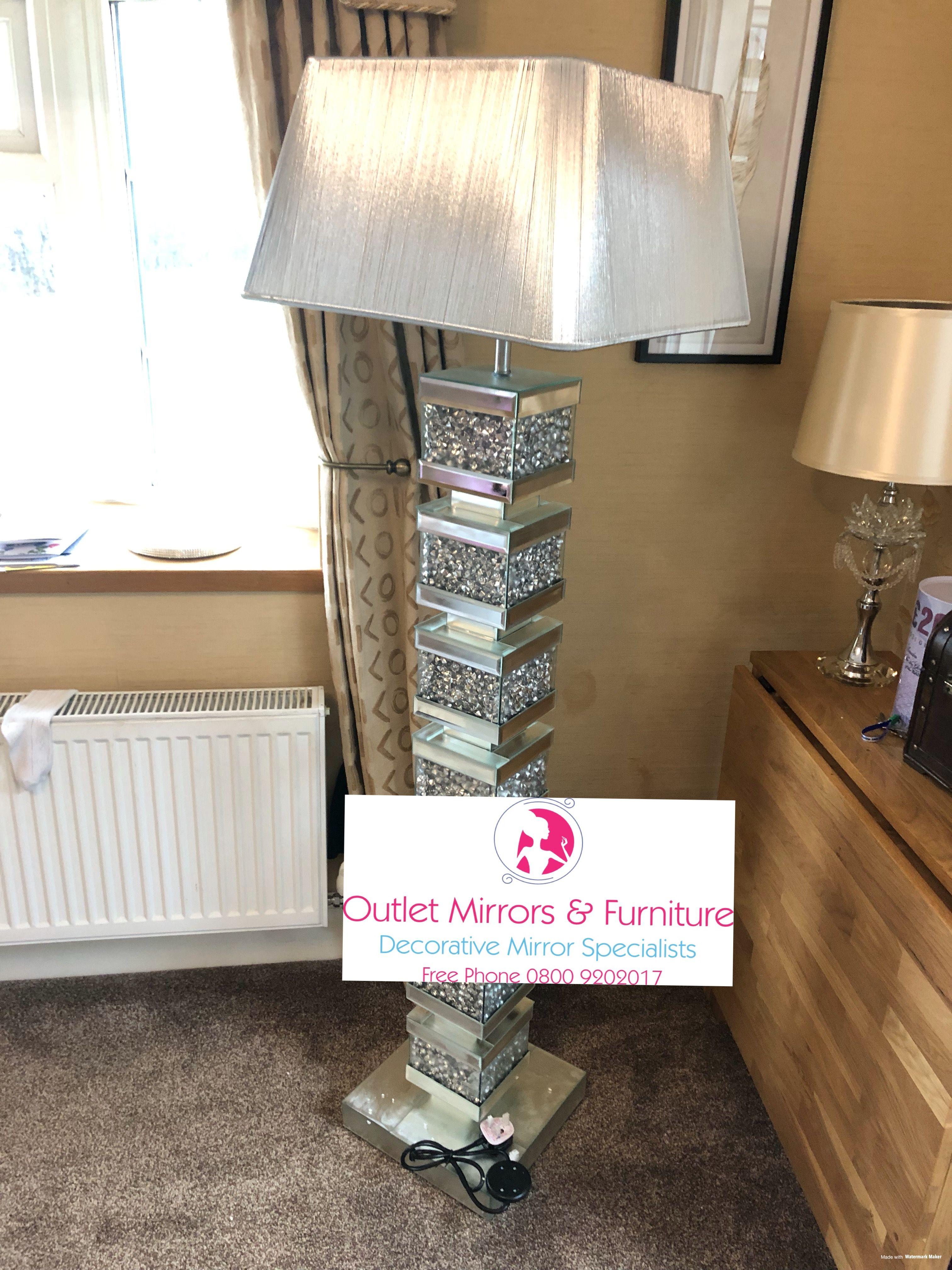 Diamond Crush Blocks Floor Lamp With Silver Shade Classic Wall Mirrors Floor Lamp Lamp #silver #living #room #lamps