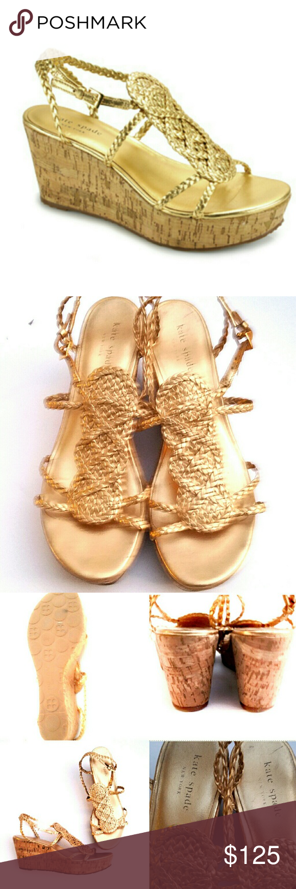 """Kate Spade Becca  Gold Leather Cork Wedges-9 Kate Spade Becca Gold Leather Cork Wedge Sandals. T- strap metallic gold sandal fashioned on comfortable and light cork wedge. 'Becca' is all set for warm weather looks. With Braided metallic leather upper, Leather lining, 1 1/4"""" front platform, a 3"""" high cork wedge, Adjustable buckle at ankle with gold buckle, and a Rubber sole, these shoes emanate class and are filled with comfort at the same time. Size 9. Excellent condition. kate spade Shoes…"""