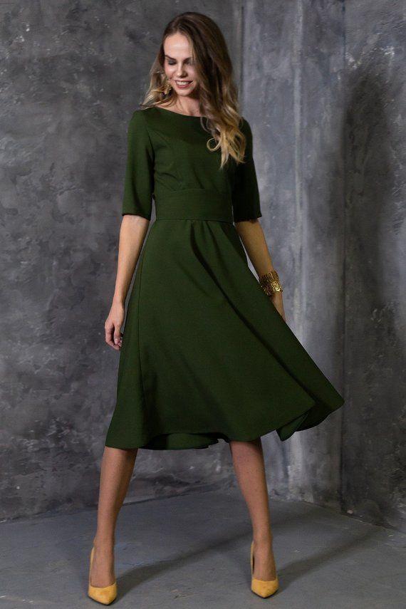Dunkelgrün Kleid, grüne Brautjungfer Kleid, grüne Frauen ...
