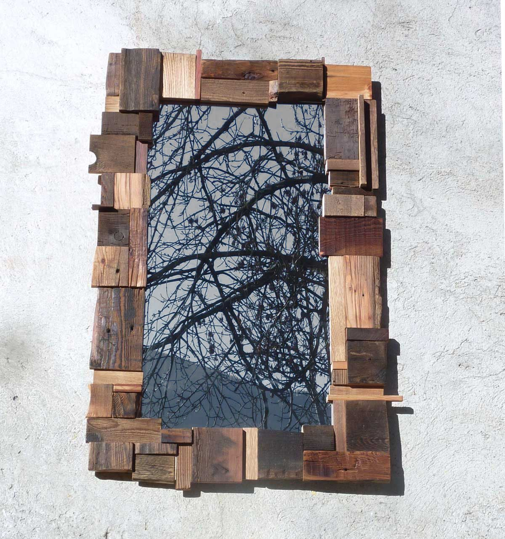 miroir avec cadre en vieux bois i wood accessories i. Black Bedroom Furniture Sets. Home Design Ideas