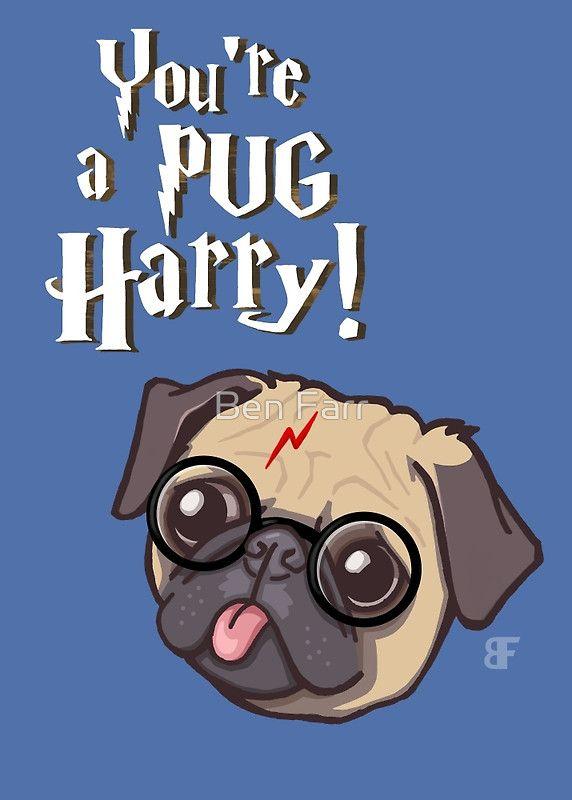 Harry Pug Art Prints By Ben Farr Redbubble Pug Cartoon Pugs