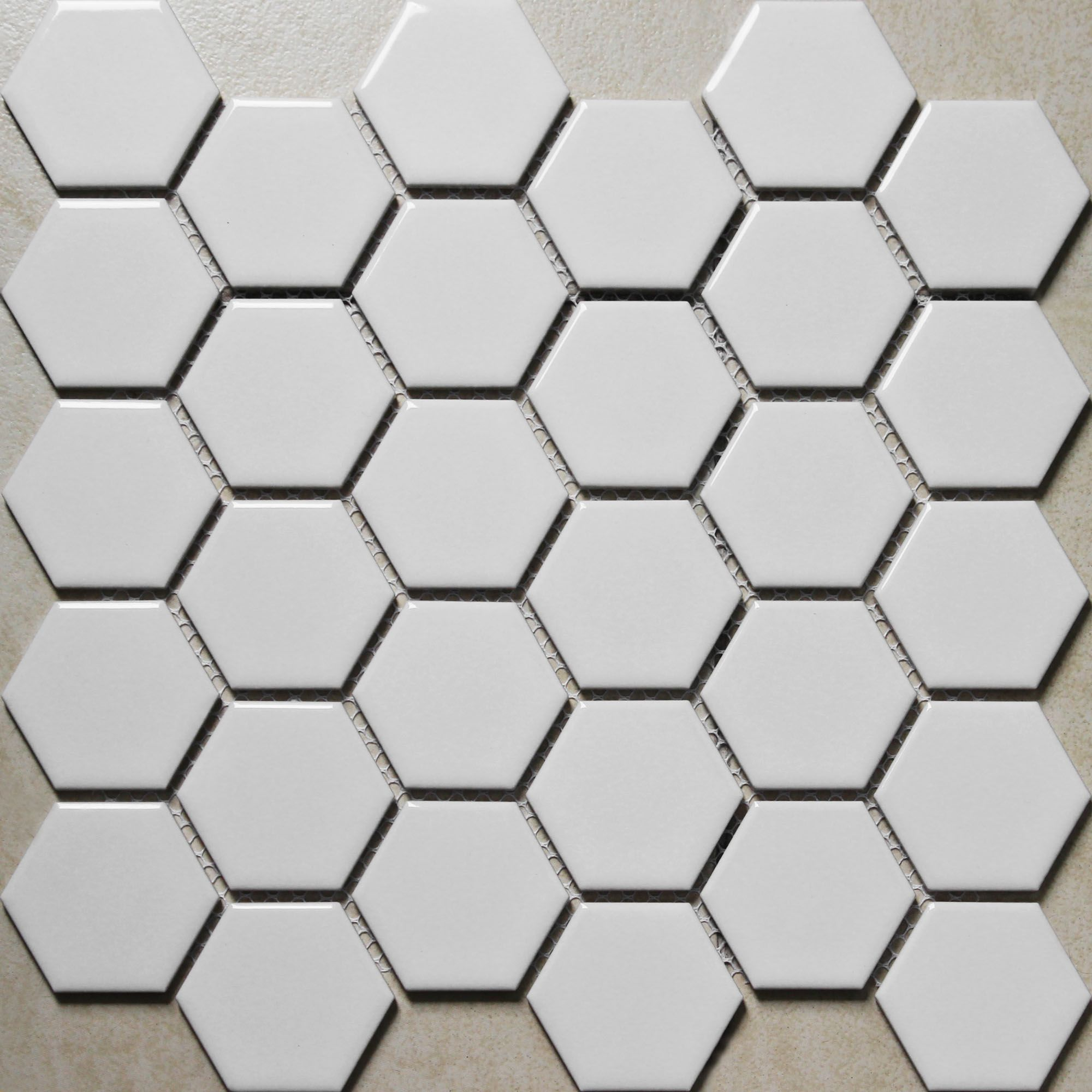 Hexagon Porcelain Tile White Shiny Porcelain Non Slip Tile