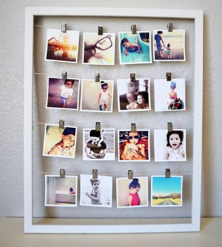 polaroid fotos deko bilderrahmen idee schnur klemmen. Black Bedroom Furniture Sets. Home Design Ideas