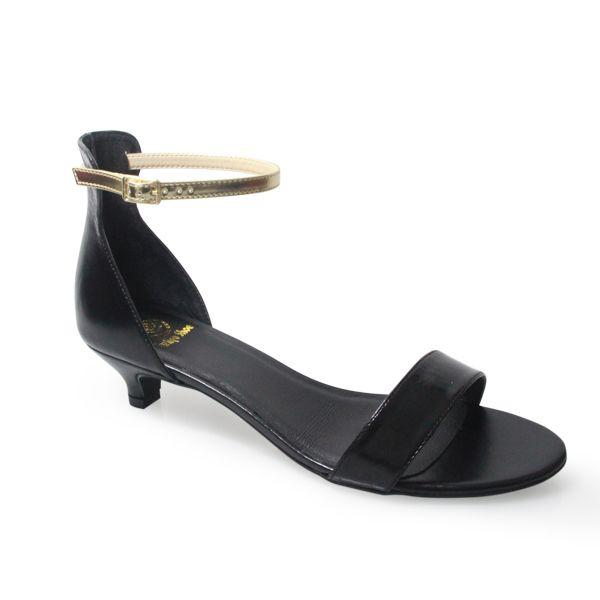 Vertigo Shoes Jacqui Black Leather Kitten Heel Sandal With Removable Gold Ankle Strap Heels Kitten Heel Shoes Black Leather Sandals