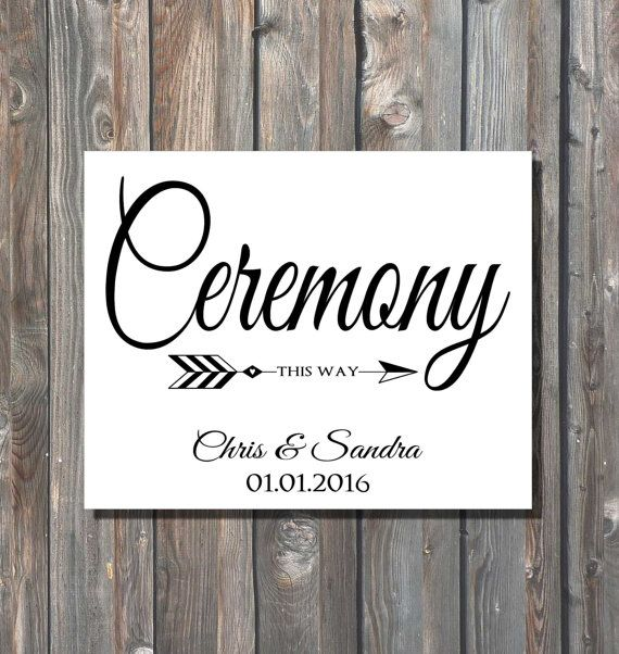 Printable Wedding Ceremony Sign Personalized This Way Direction