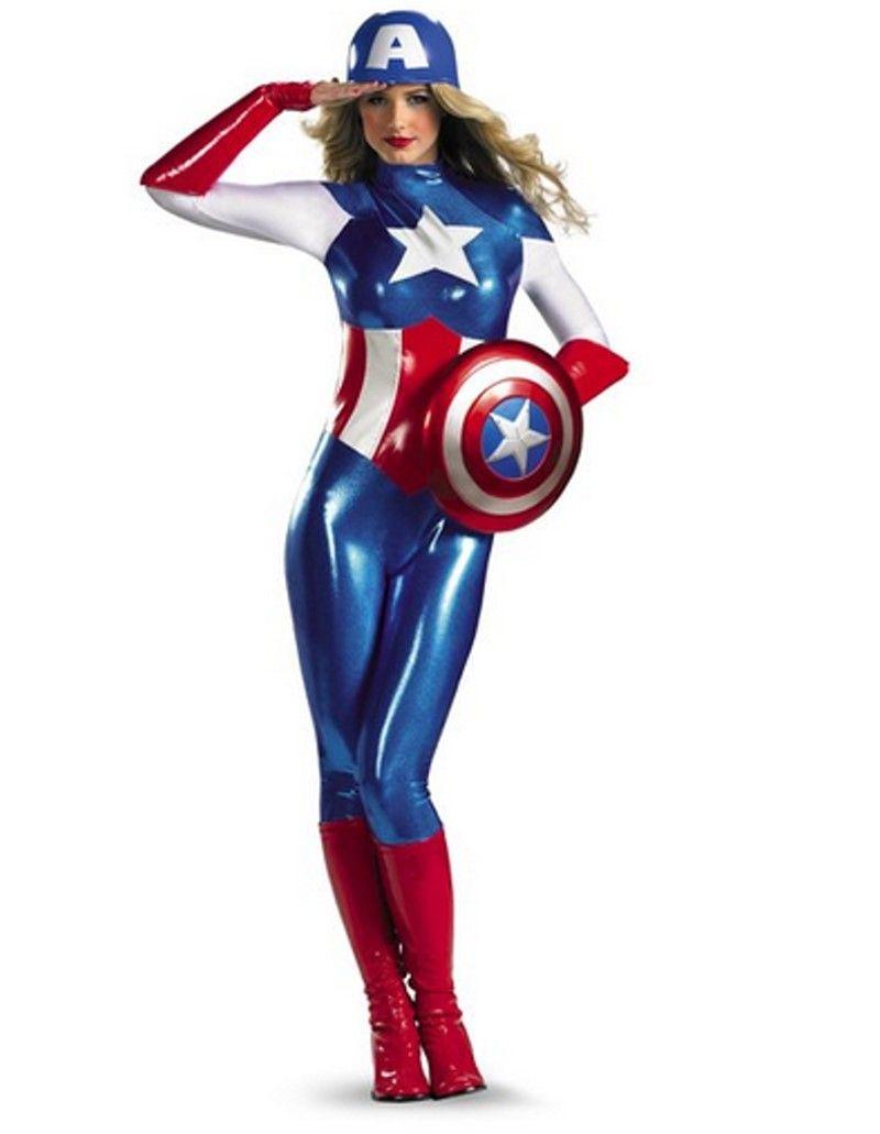 Marvel Captain America Bodysuit Damen Kostum Usa Halloween Und