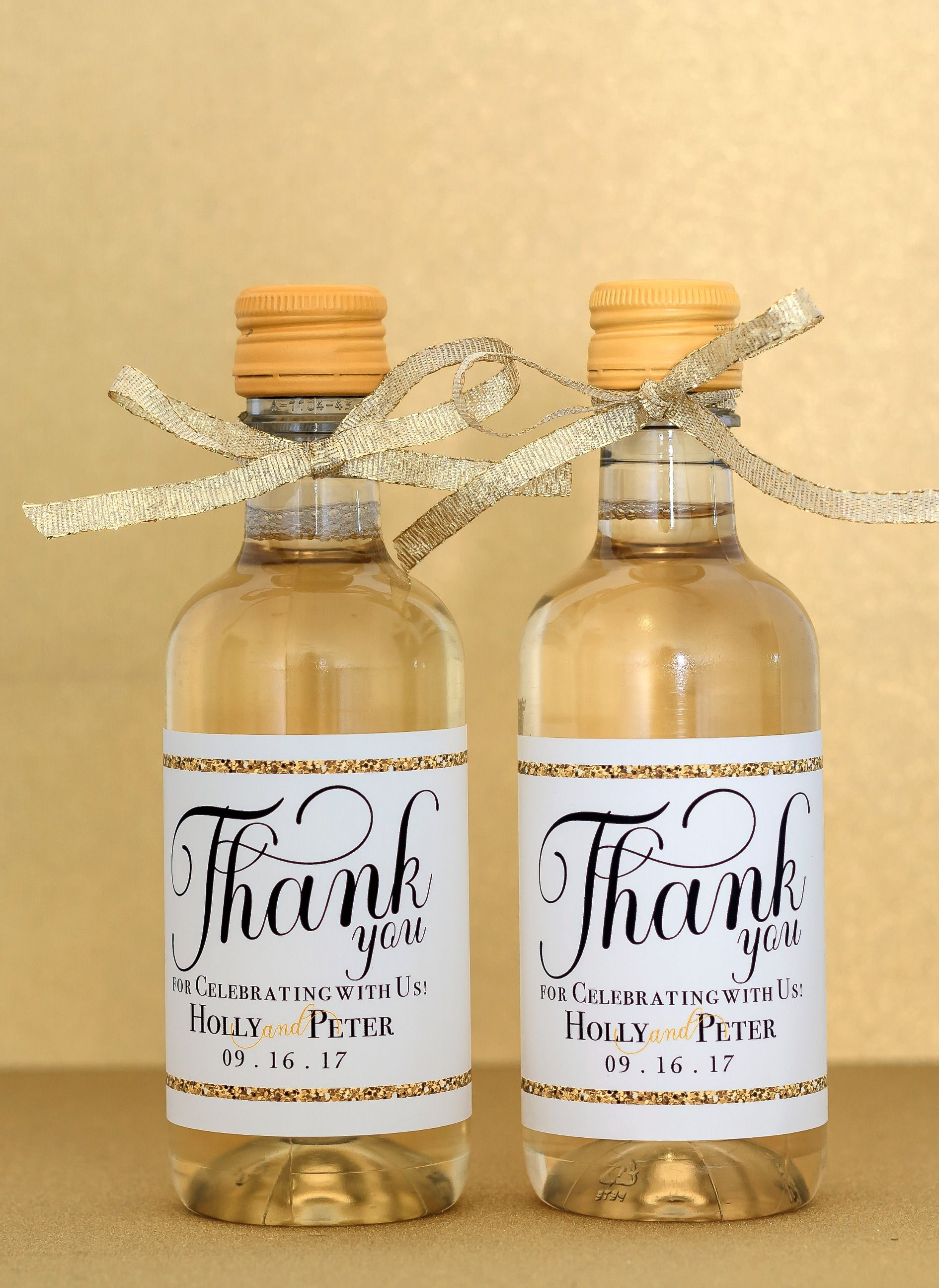 Gold Wedding Mini Wine Bottle Labels Personalized Favor Custom Guest Thank You Gift Welcome Bag