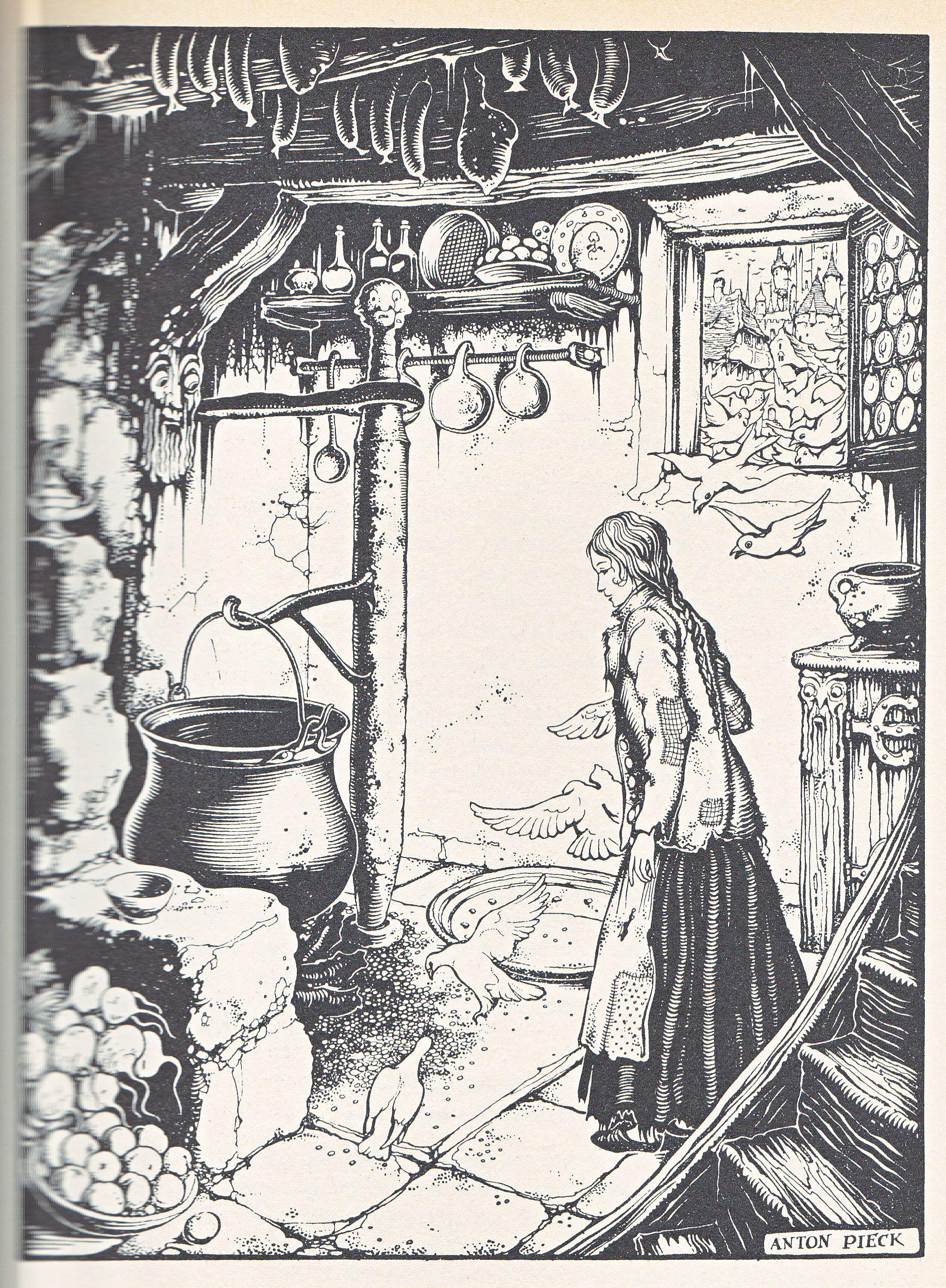 Anton Pieck Uit Grimm Assepoester Sprookje Illustraties Grimm Sprookjes Sprookjes
