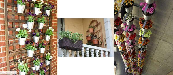 un jardin pour balcon avec des pots de fleurs. Black Bedroom Furniture Sets. Home Design Ideas