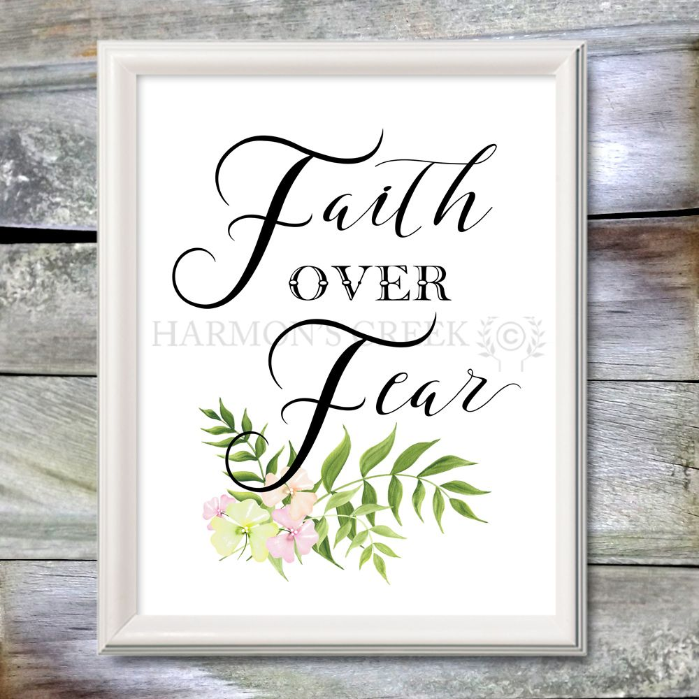 Faith over fear printable inspirational quote watercolor