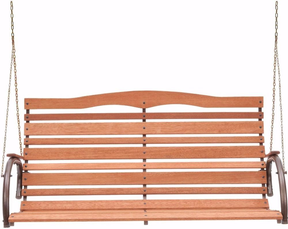 Seater high back wood porch bench swing outdoor garden patio