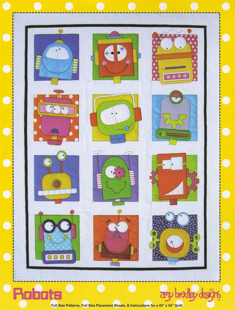Robots Quilt Quilting Pattern Fusible Applique From Amy