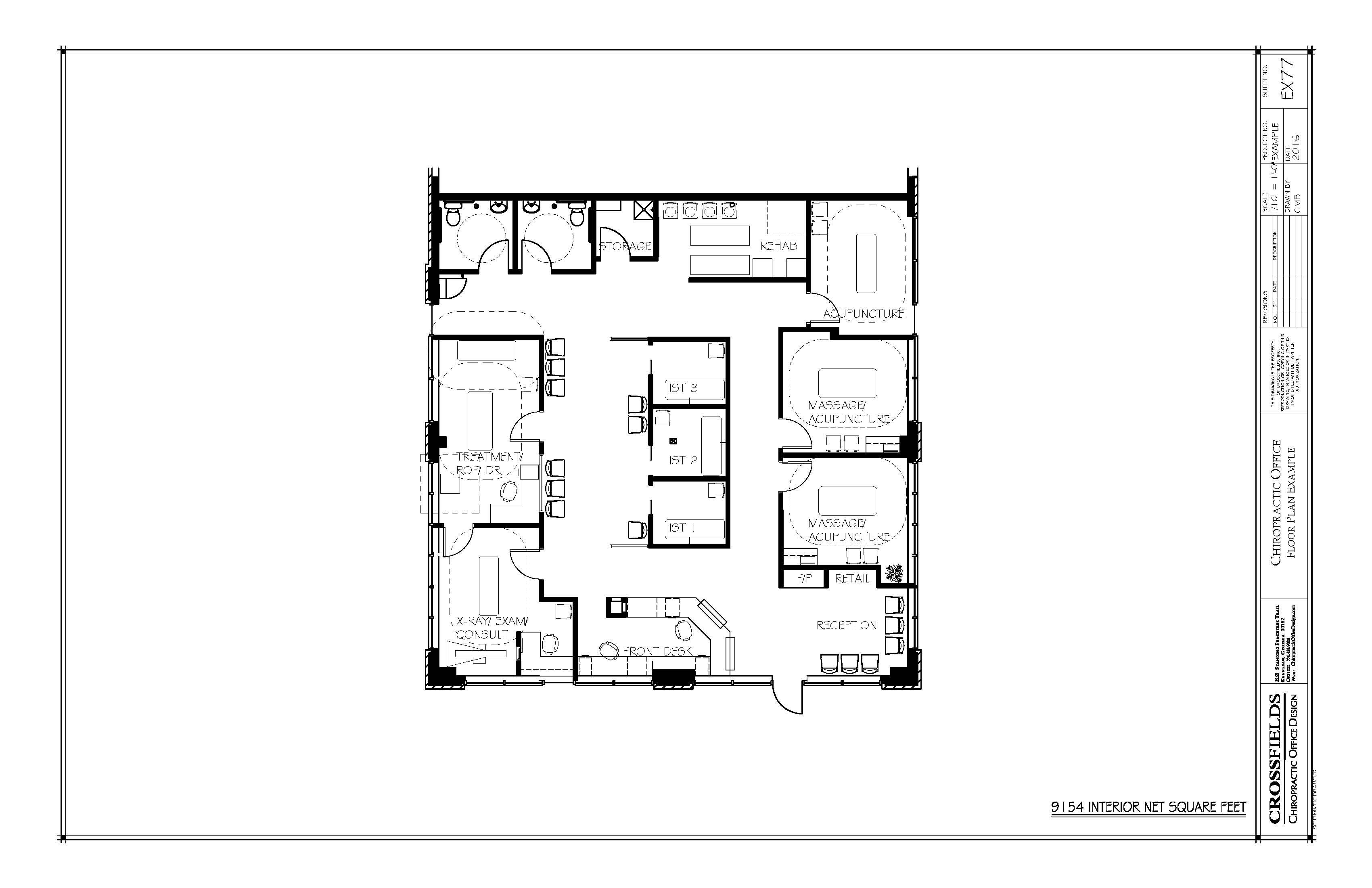 Example floor plan with closed adjusting x ray exam ist rehab massage acupuncture
