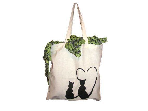 Hand painted - Canvas Bag - Light Weight Fabric - Cats in love - Natural Color - Cat Lovers  $19.99