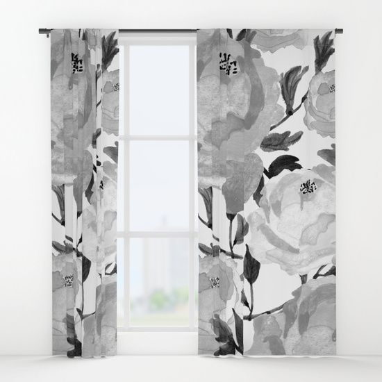 Black And White Floral Drapes Black And White Watercolor Curtains Black And White Curtains Black And Grey Curtains Black Curtains Floral Curtains