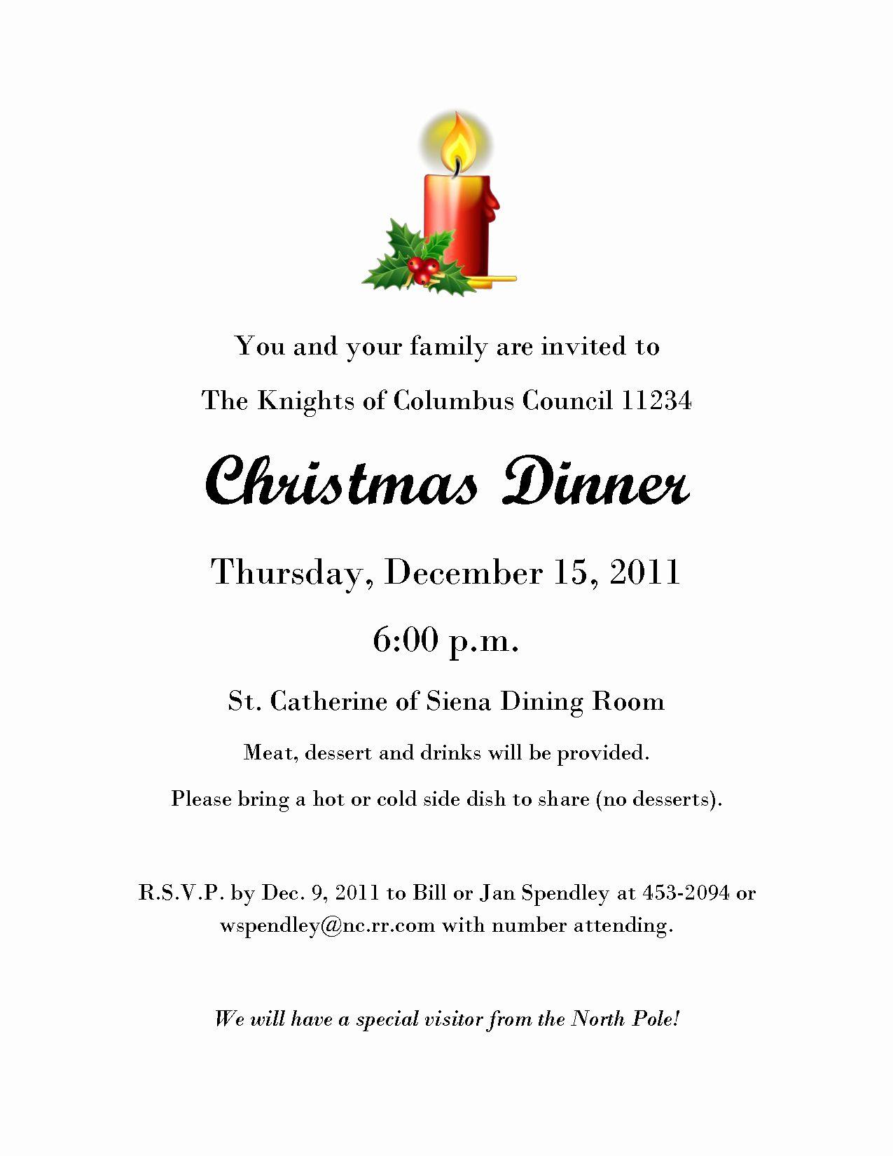 Christmas Dinner Invitation Template Elegant Christmas Eve
