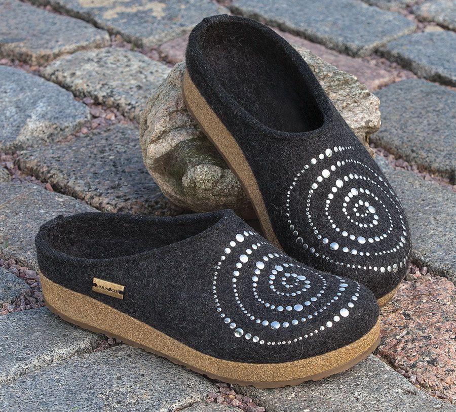 Haflinger Spiral Wool Clogs - Acacia