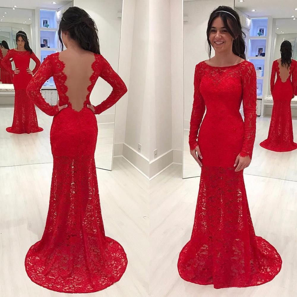 Sexy backless red long sleeve lace mermaid evening prom dresses