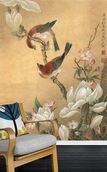 peinture asiatique aspect ancien papier peint vintage les magnolias le cerisier et les