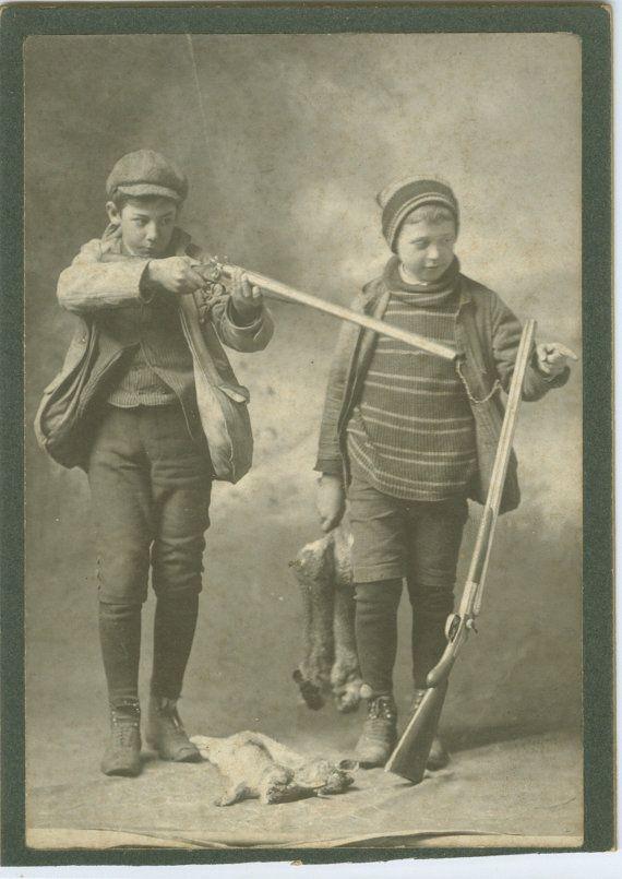 Boy Hunting Rabbit Vintage 1903 Charles Shader Photograph Boys Clothes