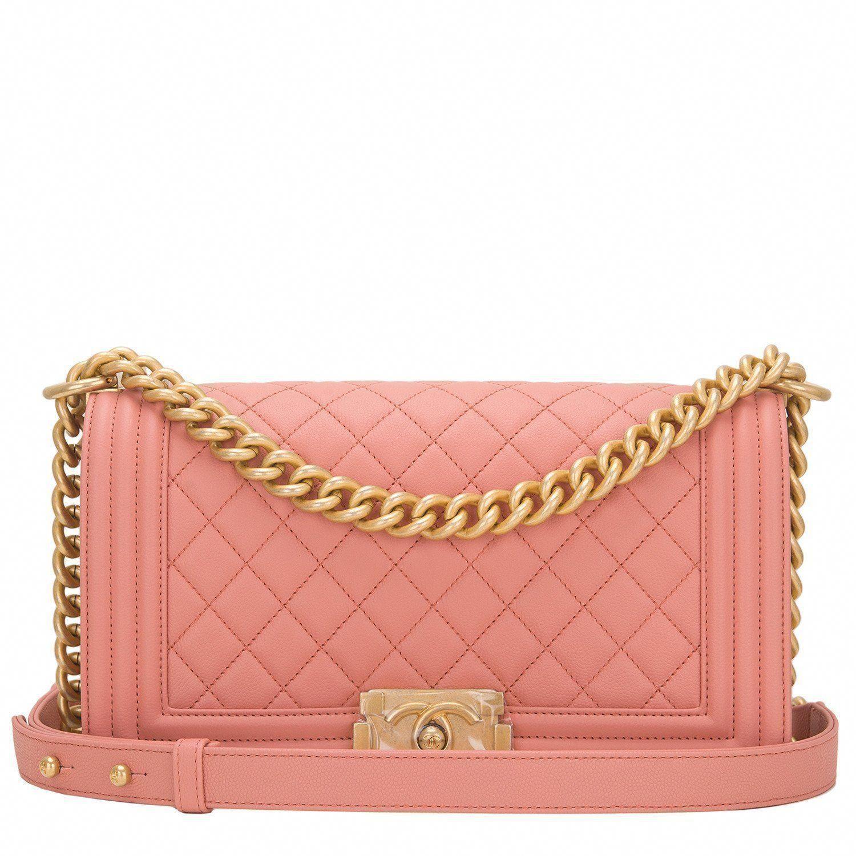 043409ff7352 Chanel Powder Pink Medium Boy bag of caviar leather and antique gold tone  hardware
