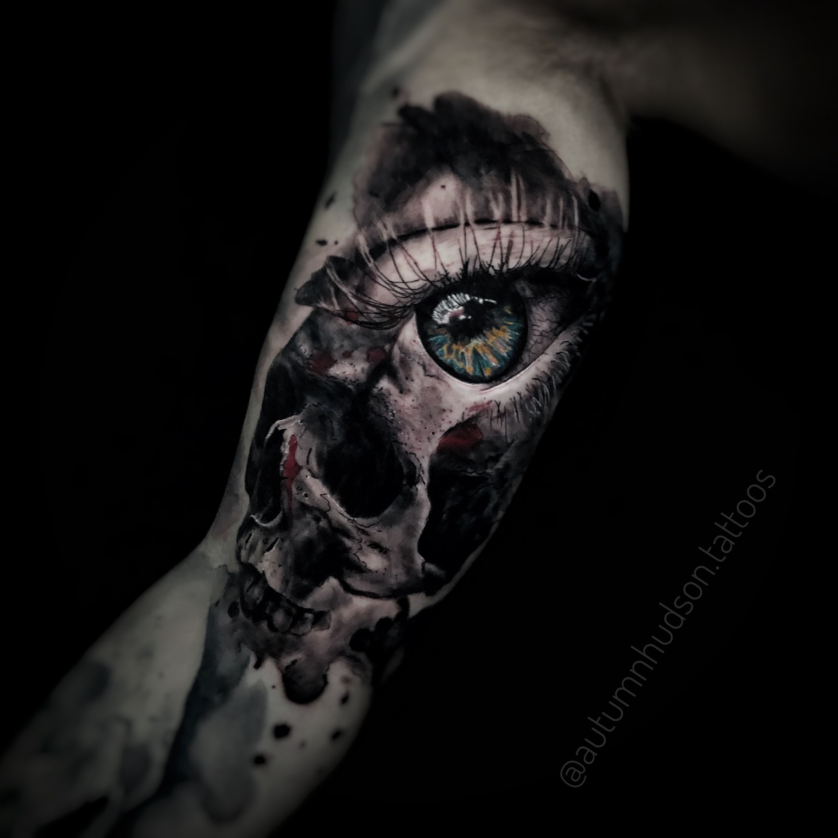 Surrealism skull and eye tattoo by autumn Hudson Bicep