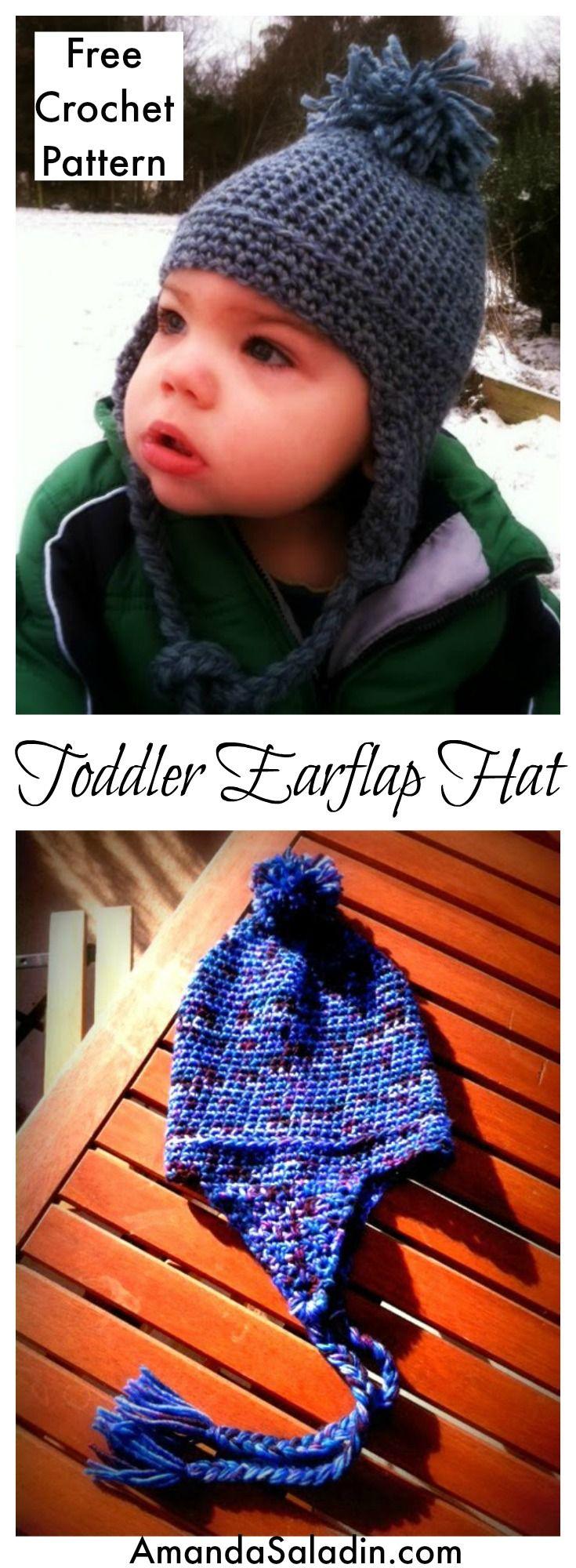 Toddler Earflap Hat - Free Crochet Pattern   Gorros, Para bebes y Bebe