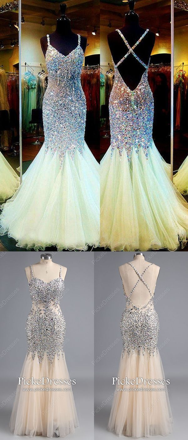 Long prom dresses champagne mermaid formal dresses sparkly tulle