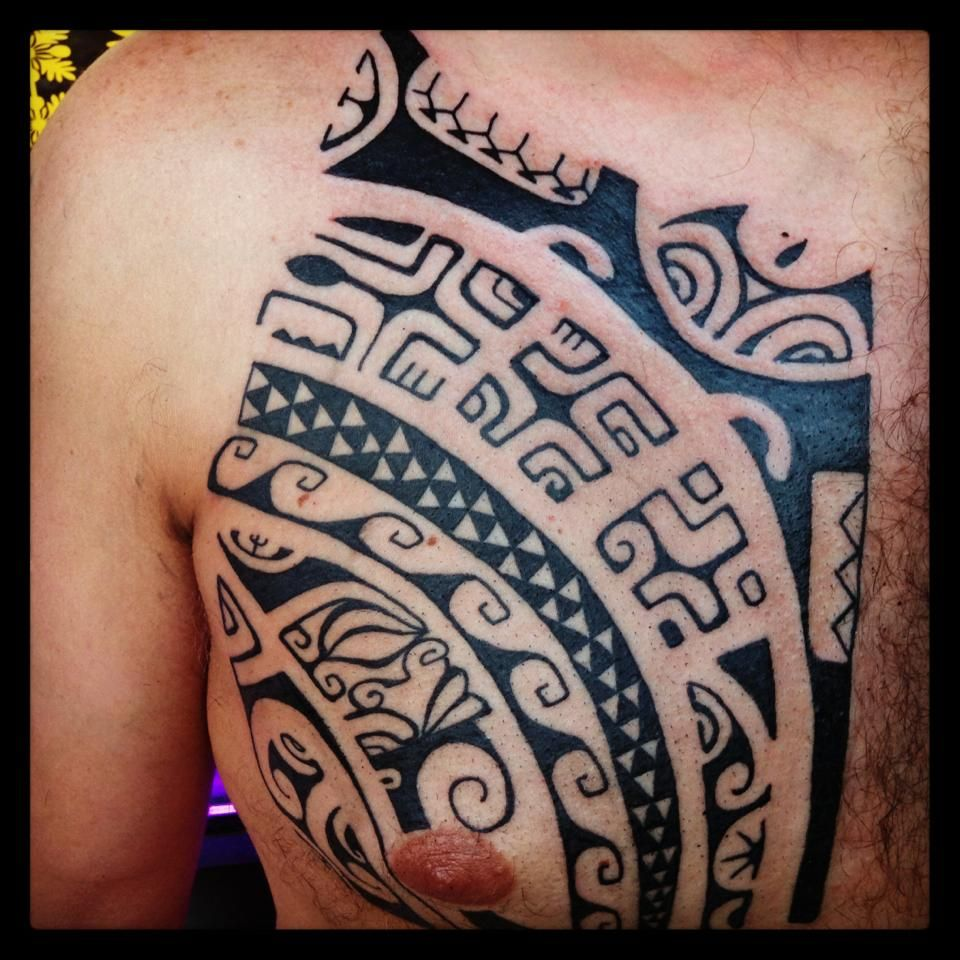 Chest to arm tattoo ideas marquesan style chest tattoo by dave rodriguez  tattoos