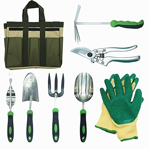 8 Piece Stainless Steel Garden Tools Set With Garden Gloves And