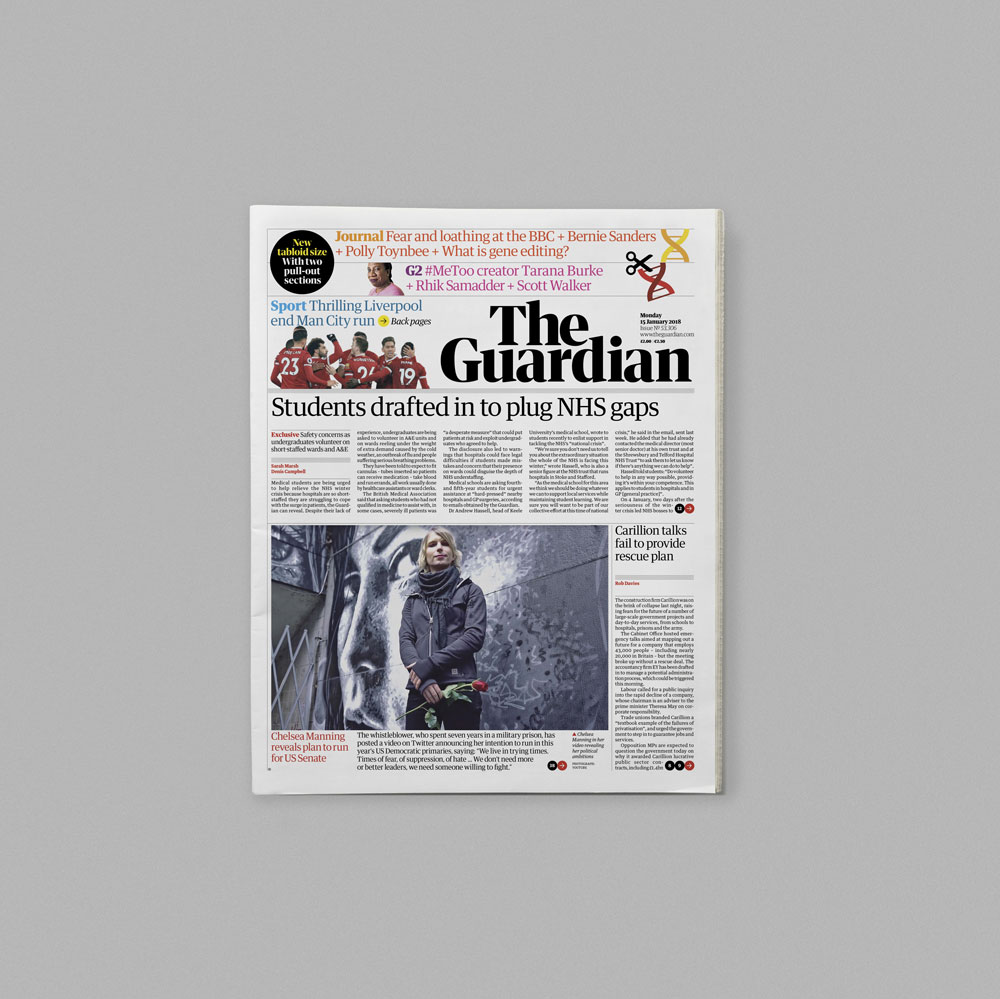 The Guardian Introduces Tabloid Format And Redesigns All Platforms Newspaper Layout Newspaper Design Guardian