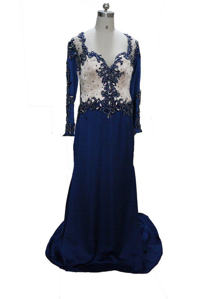 Blevla v neck long sleeves beaded chiffon prom dress formal evening